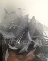 Ladies' Elegant Cambric With Feather Fascinators/Kentucky Derby Hats/Tea Party Hats (196119277)