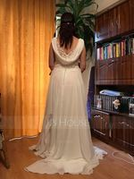 V-neck Sweep Train Chiffon Wedding Dress With Beading Sequins (265193220)