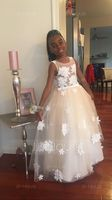 Ball-Gown Scoop Neck Floor-Length Tulle Junior Bridesmaid Dress With Flower(s) Bow(s) (009130493)
