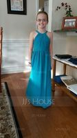 A-Line/Princess Scoop Neck Floor-Length Chiffon Junior Bridesmaid Dress With Ruffle (268183942)