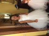 A-Line Tea-length Flower Girl Dress - Tulle/Lace Sleeveless Scoop Neck With Sash/Back Hole (Detachable sash) (010106125)