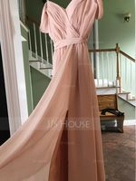 V-neck Floor-Length Chiffon Bridesmaid Dress With Bow(s) Split Front Cascading Ruffles (266195855)