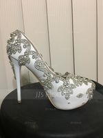 523ddff3a3c2 Women s Real Leather Stiletto Heel Closed Toe Pumps With Rhinestone ...