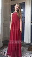 A-Line/Princess Scoop Neck Floor-Length Chiffon Junior Bridesmaid Dress (268177143)