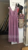 A-Line/Princess V-neck Floor-Length Chiffon Lace Bridesmaid Dress With Bow(s) (266177070)