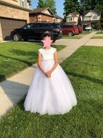 A-Line/Princess Floor-length Flower Girl Dress - Satin/Tulle/Lace Sleeveless Scoop Neck With Rhinestone (010153211)