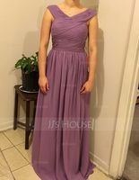 V-neck Floor-Length Chiffon Prom Dresses With Ruffle (272207479)