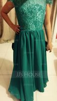 A-Line/Princess Scoop Neck Floor-Length Chiffon Lace Junior Bridesmaid Dress (268177126)