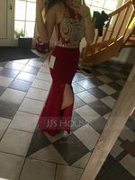Trumpet/Mermaid Scoop Neck Floor-Length Jersey Prom Dresses With Beading Split Front (272202868)