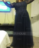 A-Line Scoop Neck Floor-Length Tulle Mother of the Bride Dress With Beading Sequins (267253148)