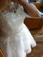 Knee-Length Tulle Wedding Dress With Appliques Lace (265219479)