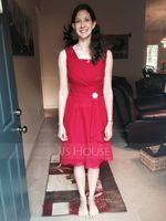 A-Line/Princess Square Neckline Knee-Length Chiffon Bridesmaid Dress With Crystal Brooch Cascading Ruffles (266176912)