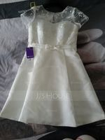 A-Line Illusion Knee-Length Satin Lace Wedding Dress With Bow(s) (002059188)