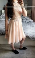 A-Line High Neck Knee-Length Chiffon Homecoming Dress With Beading Sequins (022087618)