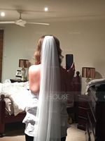 One-tier Lace Applique Edge Cathedral Bridal Veils With Lace (006141337)