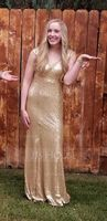 Trumpet/Mermaid V-neck Floor-Length Sequined Evening Dress With Split Front (271194348)