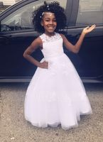 A-Line/Princess Floor-length Flower Girl Dress - Satin/Tulle Sleeveless Scoop Neck With Beading/Appliques (010104984)