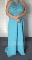 Scoop Neck Sweep Train Chiffon Lace Bridesmaid Dress With Ruffle Bow(s) (266195927)