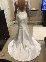 Trumpet/Mermaid Illusion Court Train Satin Lace Wedding Dress With Beading Sequins (002107820)