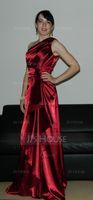 A-Line/Princess One-Shoulder Floor-Length Charmeuse Evening Dress With Cascading Ruffles (017021116)
