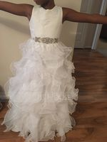 Floor-length Flower Girl Dress - Organza Sleeveless Scoop Neck With Ruffles (269193596)