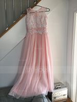 A-Line/Princess Scoop Neck Floor-Length Tulle Junior Bridesmaid Dress With Beading Sequins (268177148)
