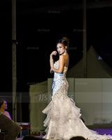 Trumpet/Mermaid Sweetheart Court Train Organza Lace Evening Dress With Beading Sequins Cascading Ruffles (017019554)