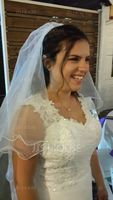 Two-tier Fingertip Bridal Veils With Scalloped Edge (006034105)