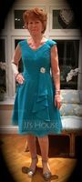 V-neck Knee-Length Chiffon Mother of the Bride Dress With Crystal Brooch Cascading Ruffles (267196213)