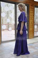 A-Line/Princess Cowl Neck Floor-Length Chiffon Mother of the Bride Dress With Lace Beading Sequins Cascading Ruffles (008040837)