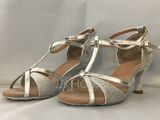 Women's Leatherette Sparkling Glitter Heels Sandals Latin With T-Strap Ankle Strap Dance Shoes (053063277)