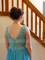 A-Line/Princess V-neck Floor-Length Chiffon Prom Dresses With Beading Appliques Lace Sequins (018070386)