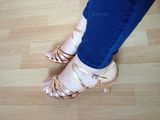 Women's Satin Heels Sandals Latin With Ankle Strap Dance Shoes (053072742)