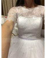 Ball-Gown/Princess Illusion Tea-Length Tulle Lace Wedding Dress With Bow(s) (002055922)
