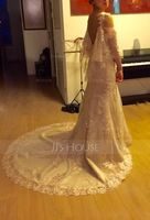 Trumpet/Mermaid Off-the-Shoulder Chapel Train Lace Wedding Dress With Beading Sequins (002056206)