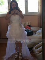 Sweetheart Asymmetrical Organza Wedding Dress With Ruffle Beading Sequins (265216693)