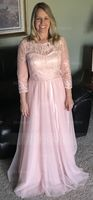 Scoop Neck Floor-Length Tulle Mother of the Bride Dress With Beading Appliques Lace Sequins (267196324)