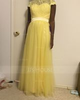 Scoop Neck Floor-Length Tulle Lace Bridesmaid Dress With Bow(s) (266195749)