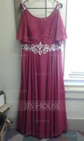 Scoop Neck Floor-Length Chiffon Mother of the Bride Dress With Lace Beading Sequins Cascading Ruffles (267196315)