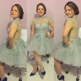 A-Line/Princess High Neck Short/Mini Organza Prom Dresses With Appliques Lace (018113206)