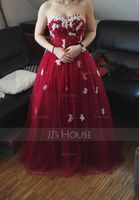 Ball-Gown Sweetheart Floor-Length Tulle Prom Dresses With Ruffle Beading Appliques Lace Sequins (018112911)