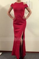 Sheath/Column Scoop Neck Floor-Length Stretch Crepe Evening Dress With Split Front (271194263)