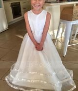 Ball-Gown/Princess Floor-length Flower Girl Dress - Organza/Satin Sleeveless Scoop Neck With Bow(s) (Petticoat NOT included) (010094142)