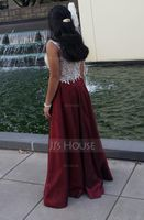 Scoop Neck Floor-Length Taffeta Tulle Prom Dresses With Beading Appliques Lace Sequins (272194615)