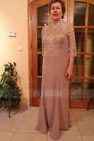 Trumpet/Mermaid High Neck Floor-Length Chiffon Lace Evening Dress With Sequins (271250454)