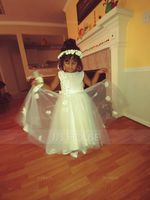 A-Line Asymmetrical Flower Girl Dress - Satin/Tulle Sleeveless Scoop Neck With Beading/Flower(s)/Bow(s) (010146248)