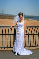 Trumpet/Mermaid V-neck Court Train Tulle Lace Wedding Dress With Beading (002004597)