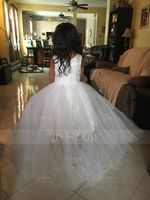 A-Line/Princess Asymmetrical Flower Girl Dress - Tulle/Lace Sleeveless Scoop Neck With Lace/Appliques (010115799)