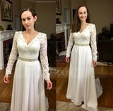 A-Line/Princess V-neck Court Train Chiffon Wedding Dress With Beading (002124278)