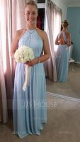 Scoop Neck Floor-Length Chiffon Bridesmaid Dress With Ruffle (266209899)